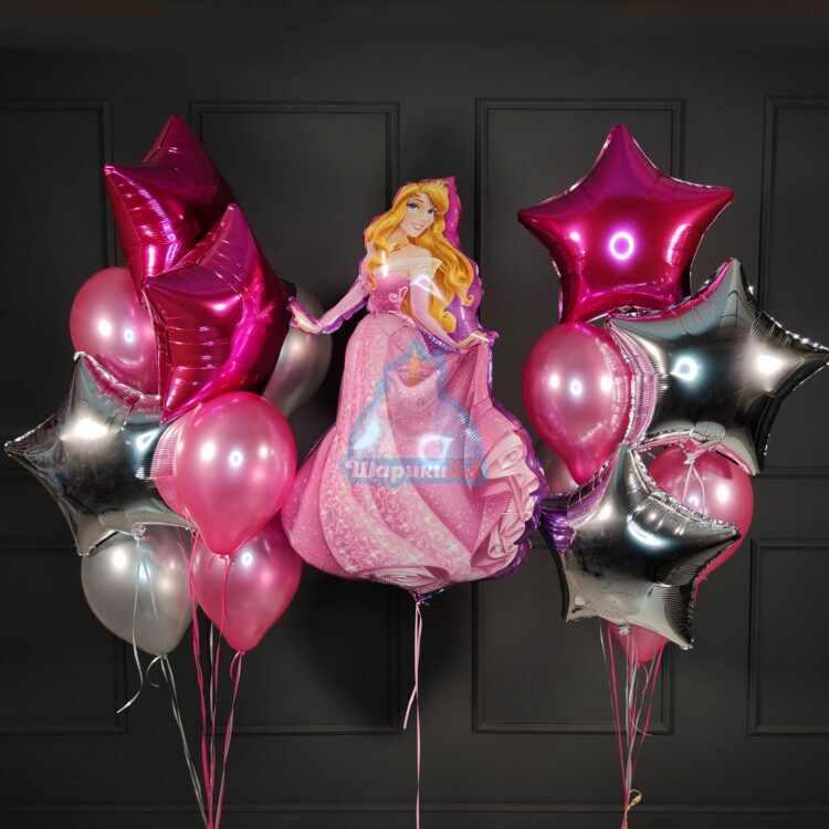 Композиция из серебряных, розовых шариков со звездами и спящей красавицей