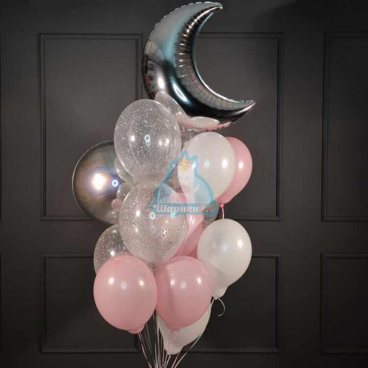 Композиция из бело-розовых и прозрачных шариков с блестками, месяцем и сферой