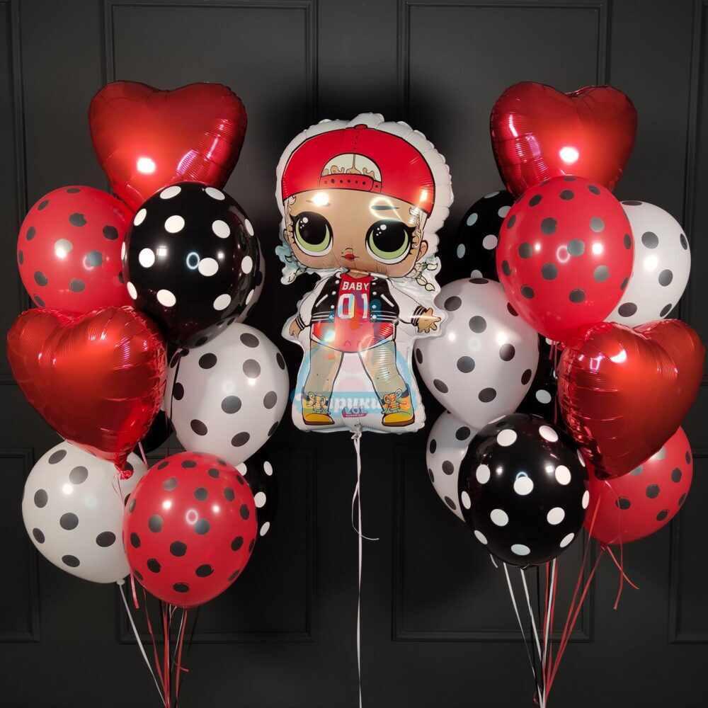 Композиция из шаров в точку с куклой ЛОЛ (LOL) Модная подружка с красным сердцем