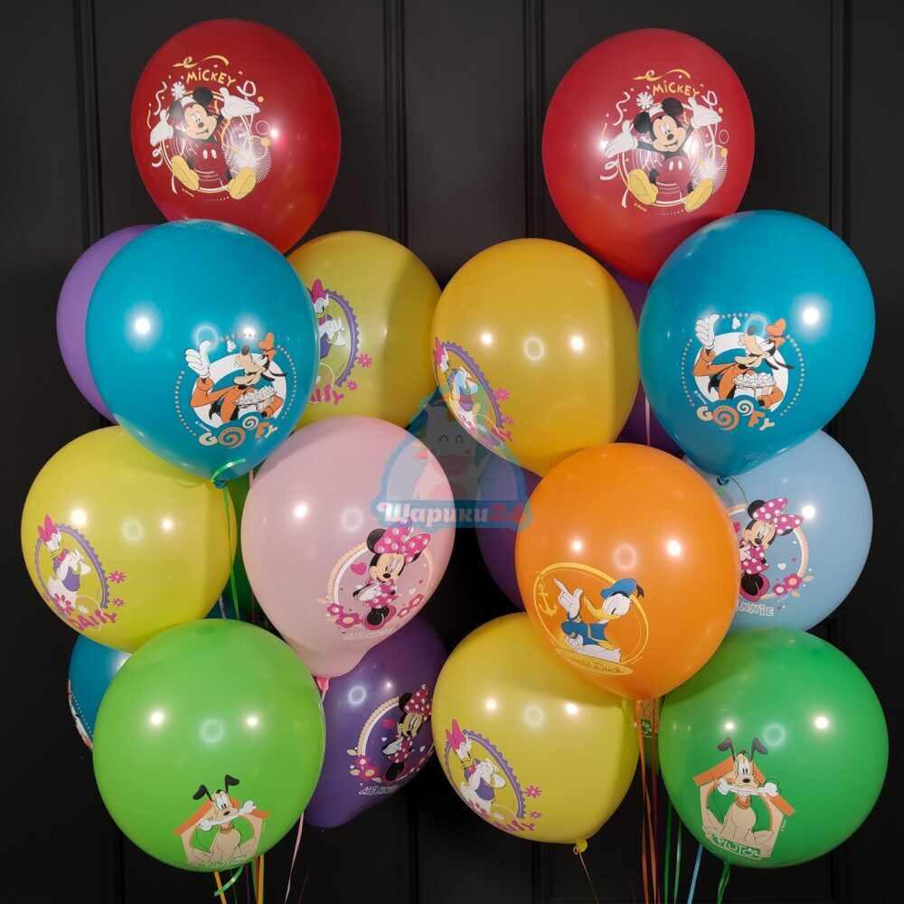 Шары с гелием разноцветные с Микки Маусом