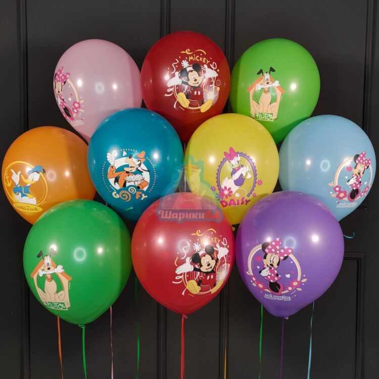 Гелиевые шары разноцветные с Микки Маусом