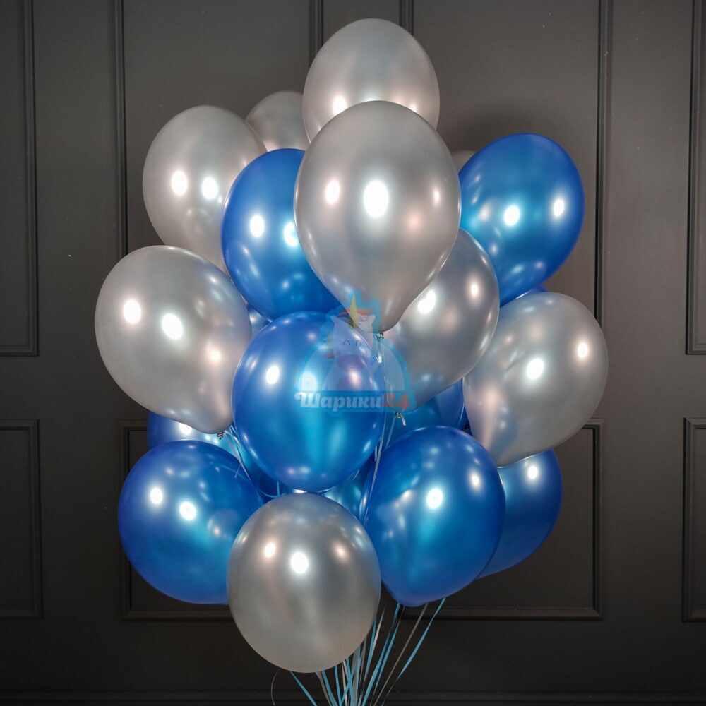 Облако синих и серебряных шариков металлик