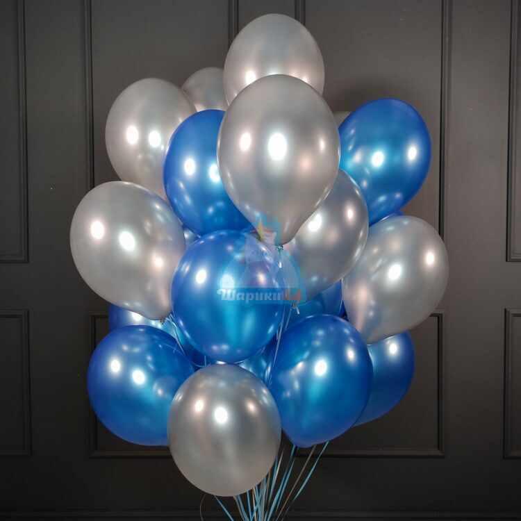 Облако синих и серебряных шариков металлик для мужчины