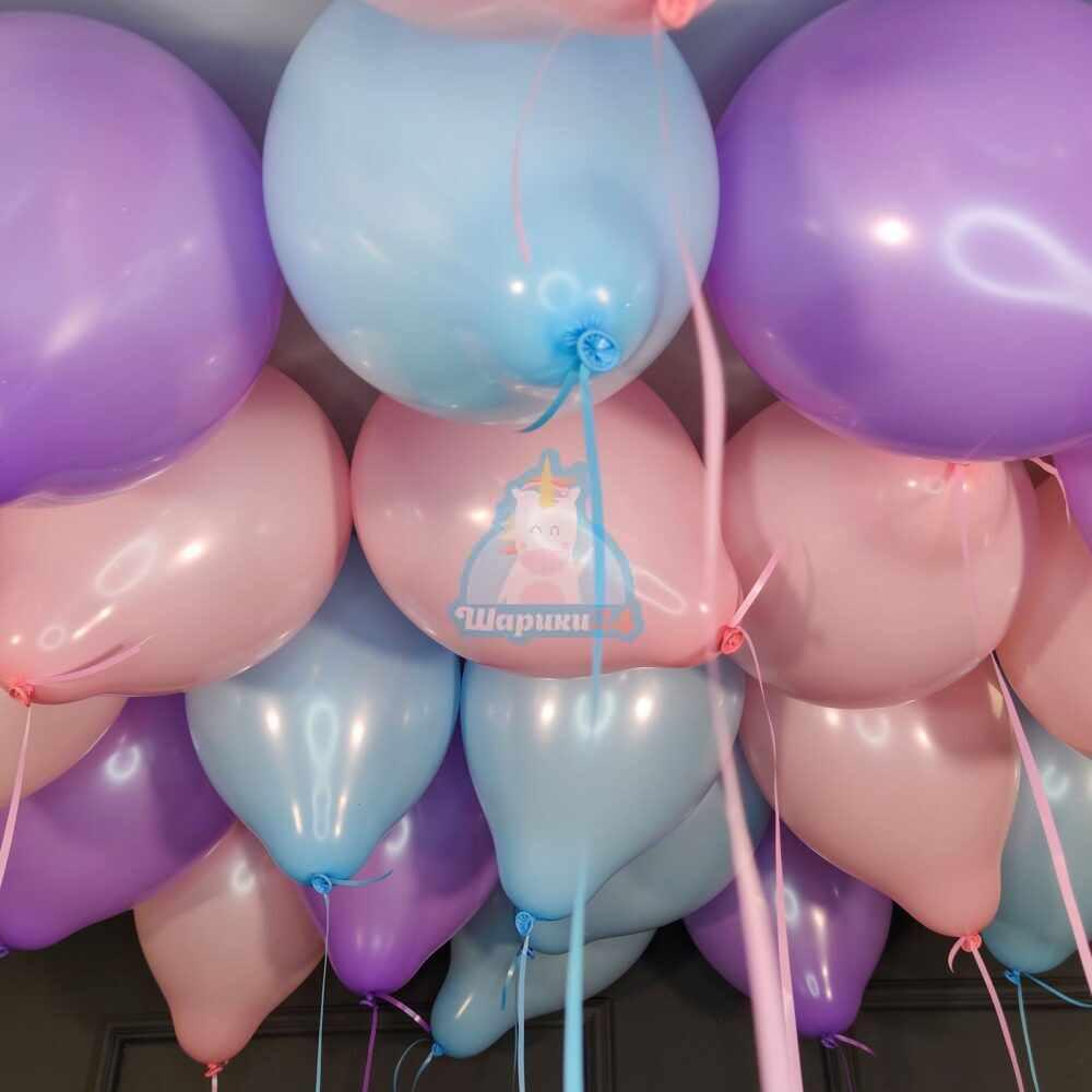 Воздушные шары под потолок ассорти нежные цвета