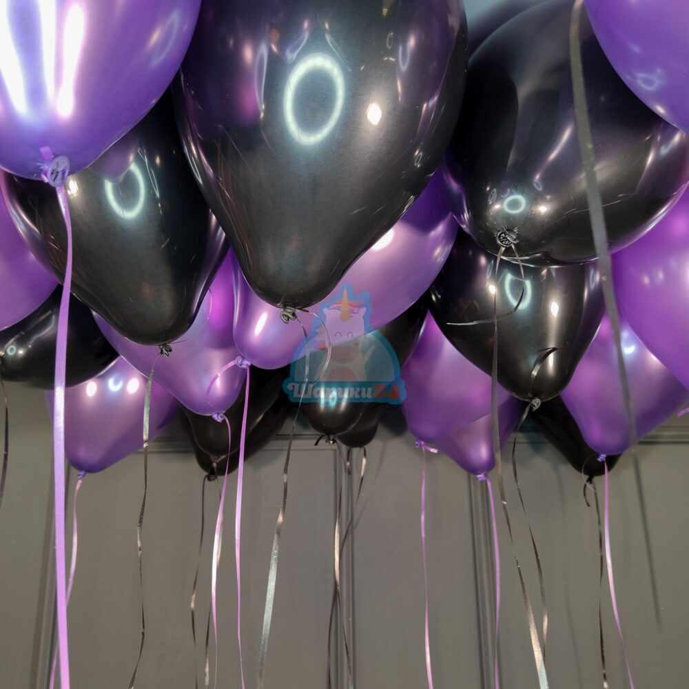Облако черных и фиолетовых шариков металлик для мужчины