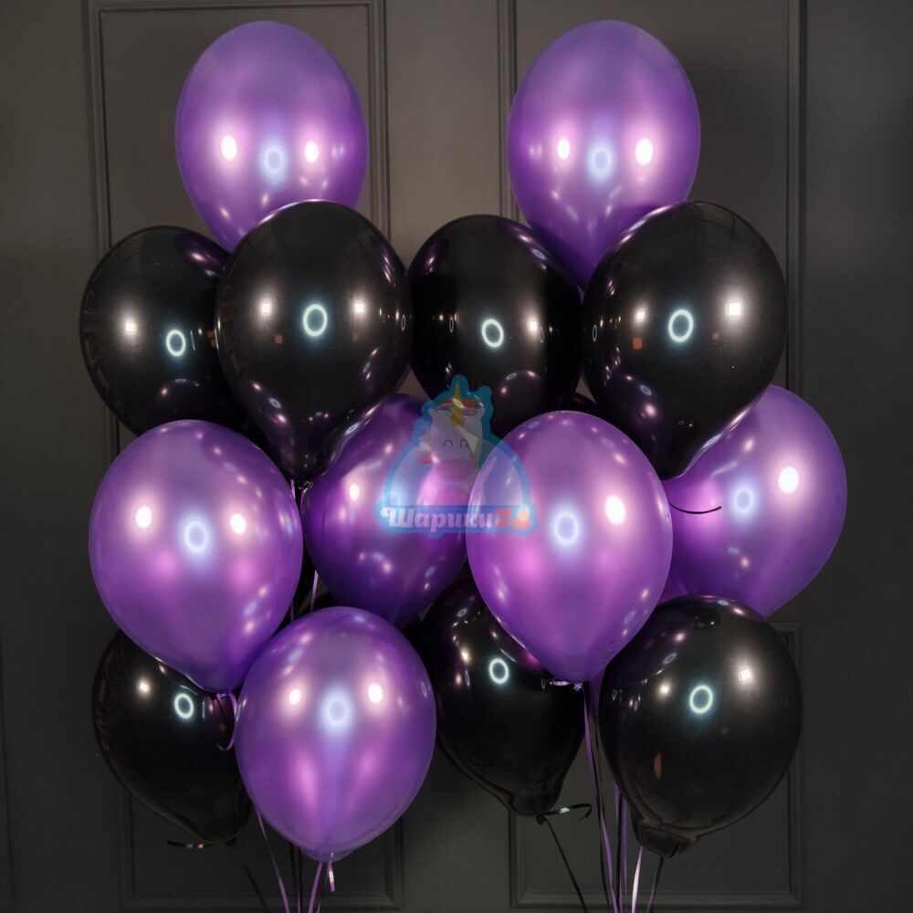 Облако черных и фиолетовых шариков металлик