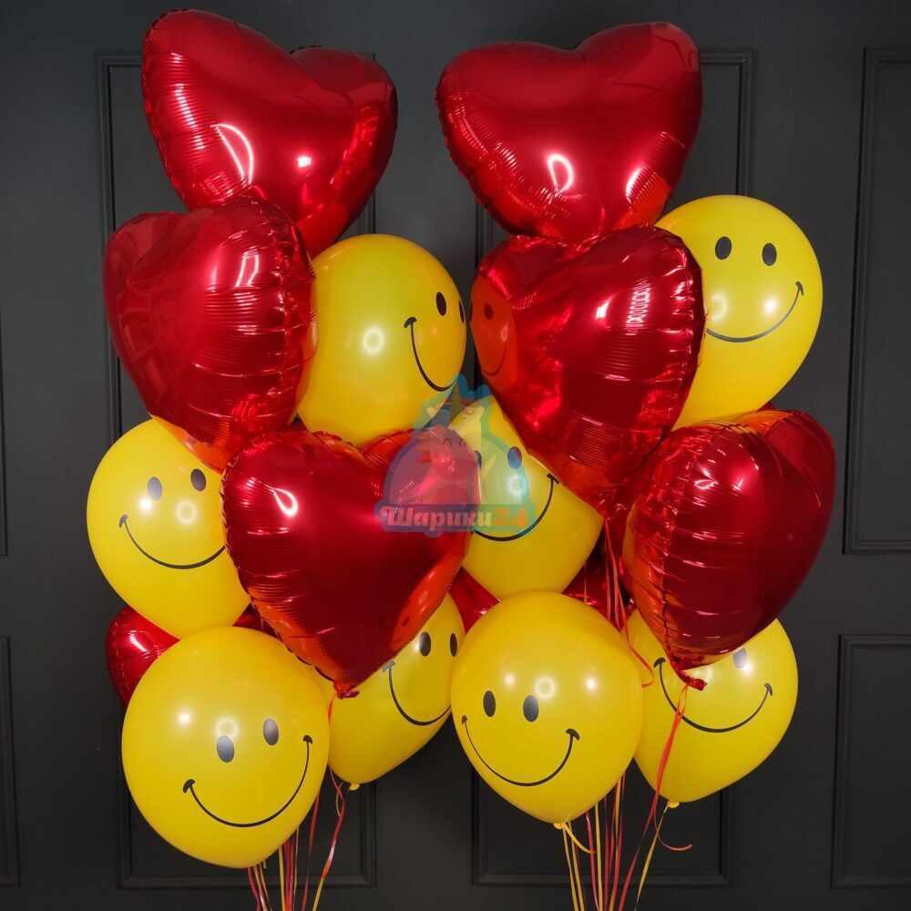 Композиция из гелиевых шаров красных сердец со смайлами