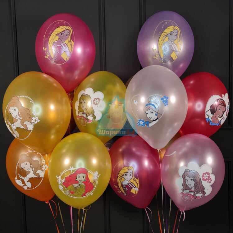 Гелиевые шары разноцветные с Принцессами