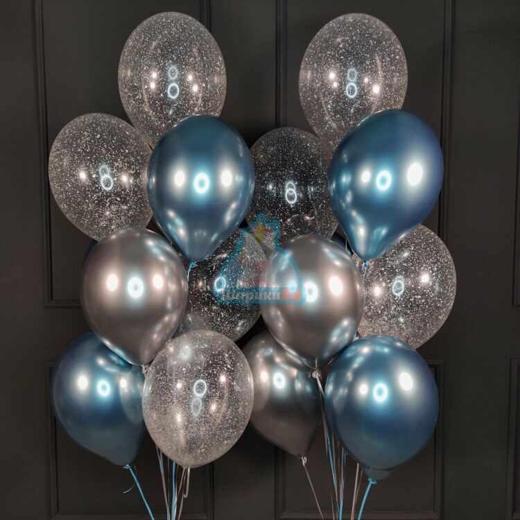 Композиция синих и серебряных шаров хром и прозрачных шариков с блестками