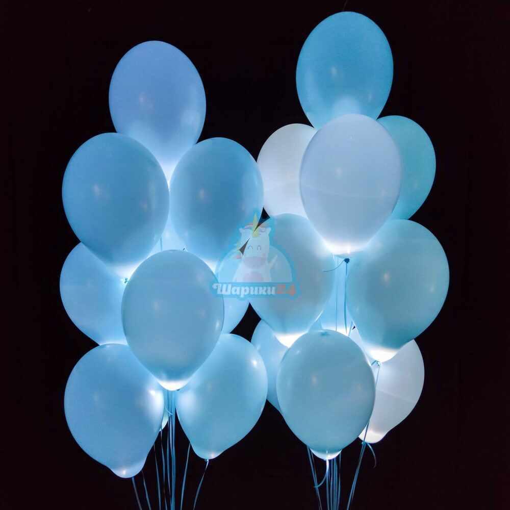 Нежно голубые шарики с белыми светодиодами