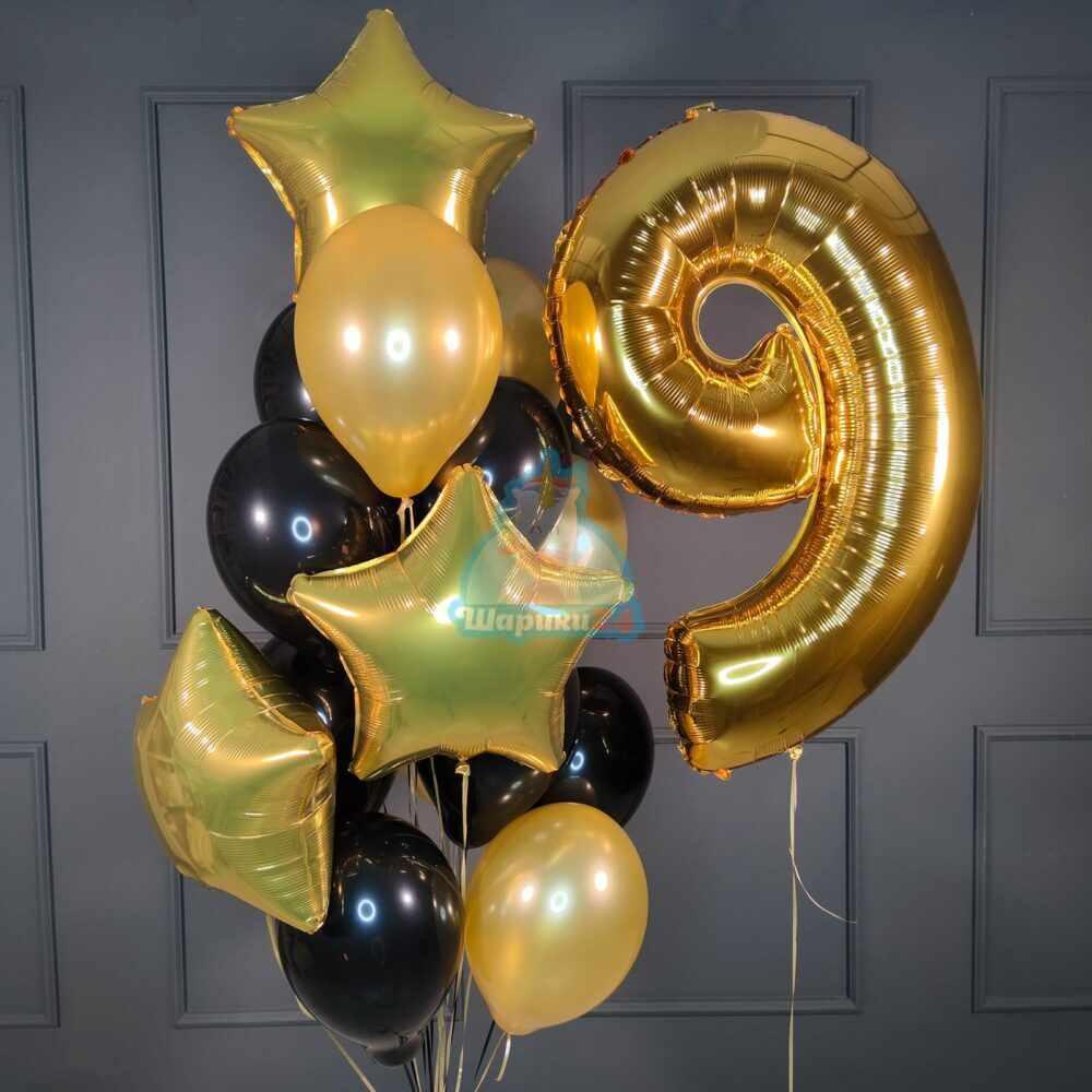 Композиция на День рождения мужчине с золотой цифрой и звездами