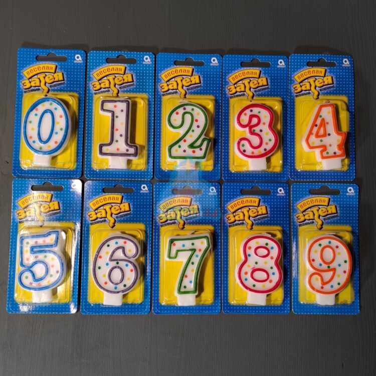 Свечи цифры 8,5 см - 1 шт