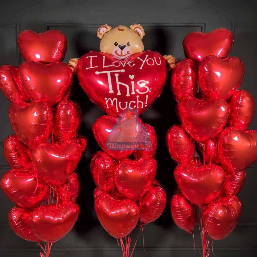 Большая композиция красных сердец с мишкой