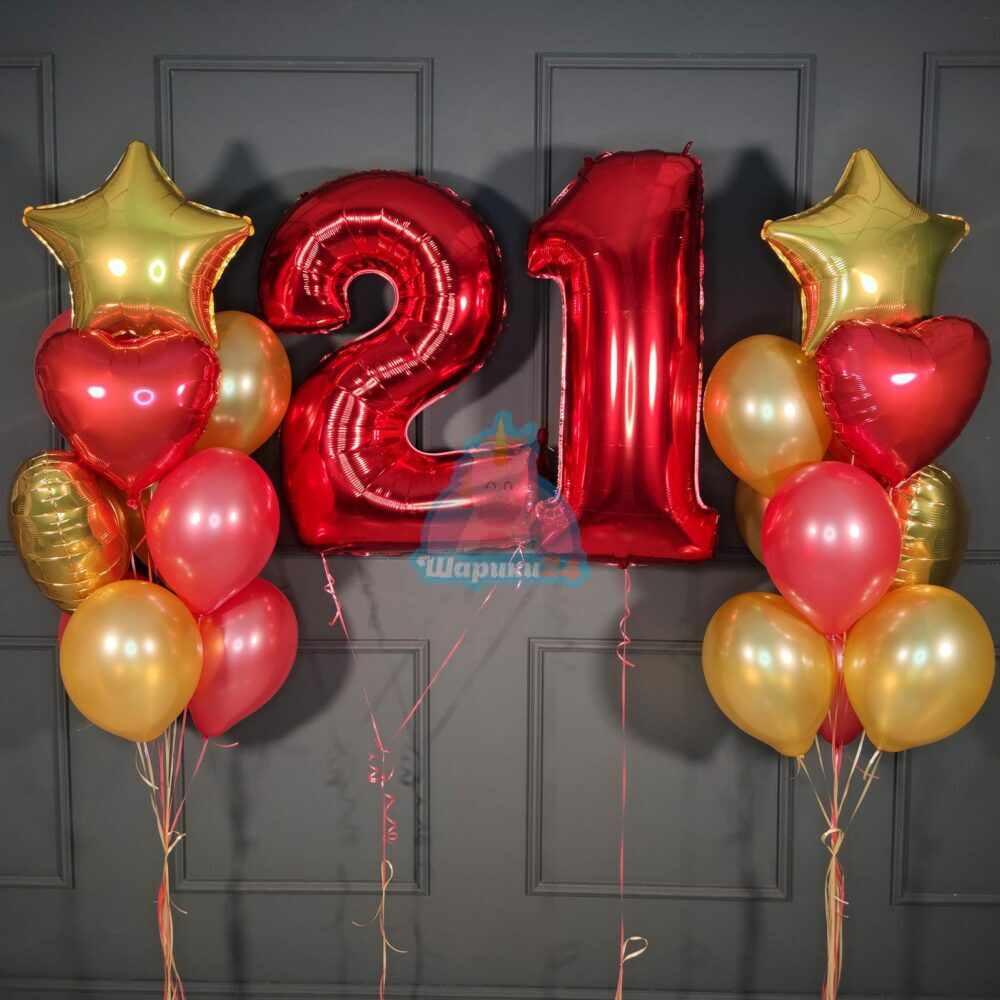 Композиция на день рождения с красными цифрами и фонтанами