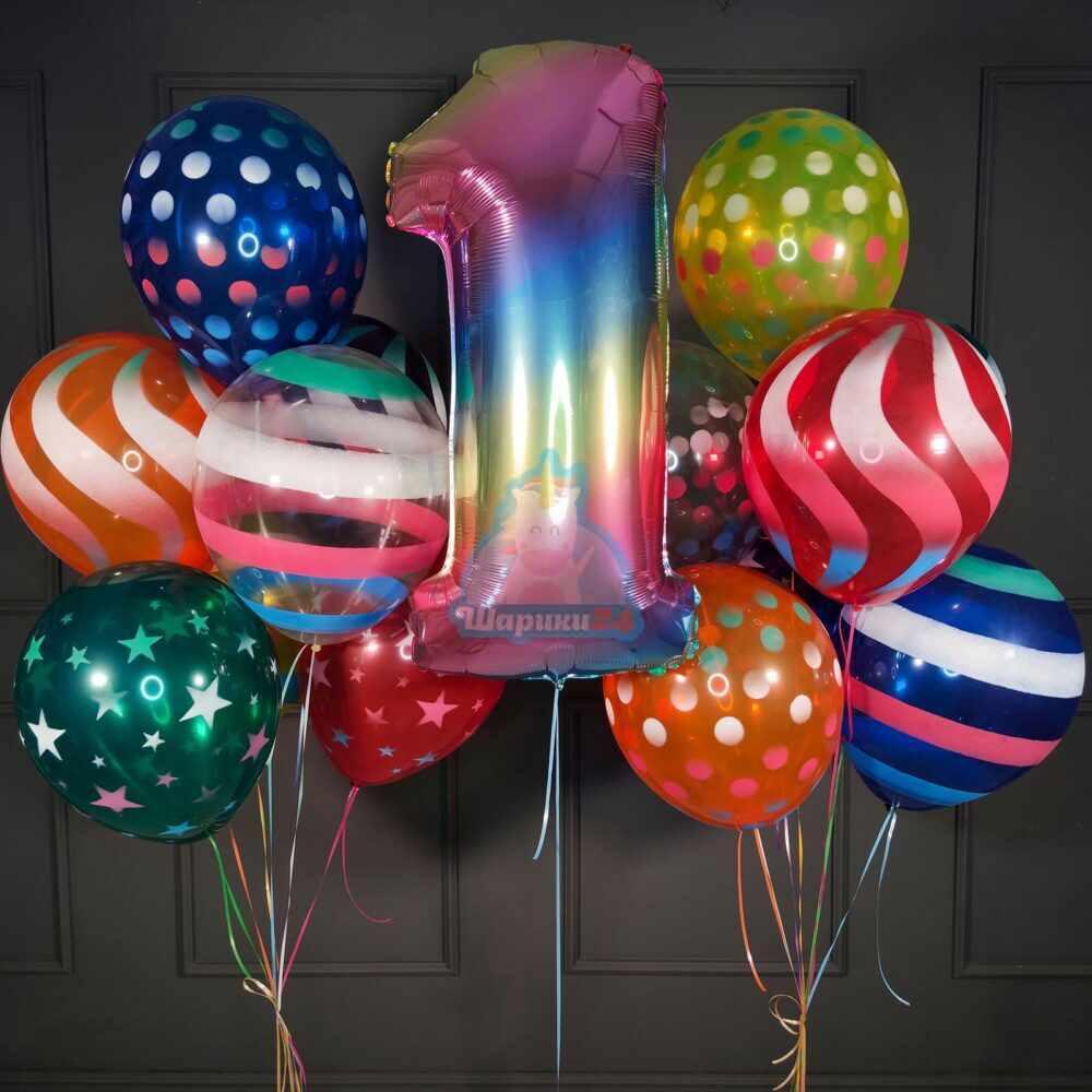 Композиция из больших шаров серпантин с радужной цифрой