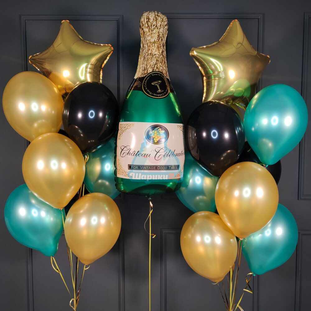Композиция из черных зеленых и золотых шаров с шампанским
