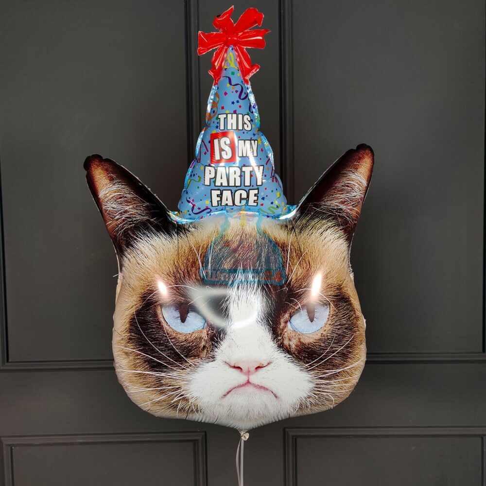 Фольгированная голова Grumpy Cat с колпачком