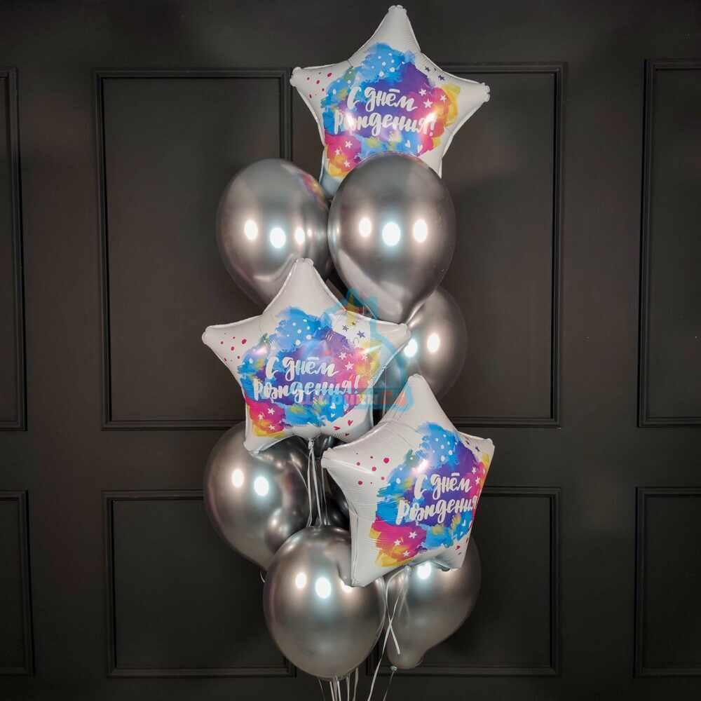Композиция из хромированных шаров на День рождения!