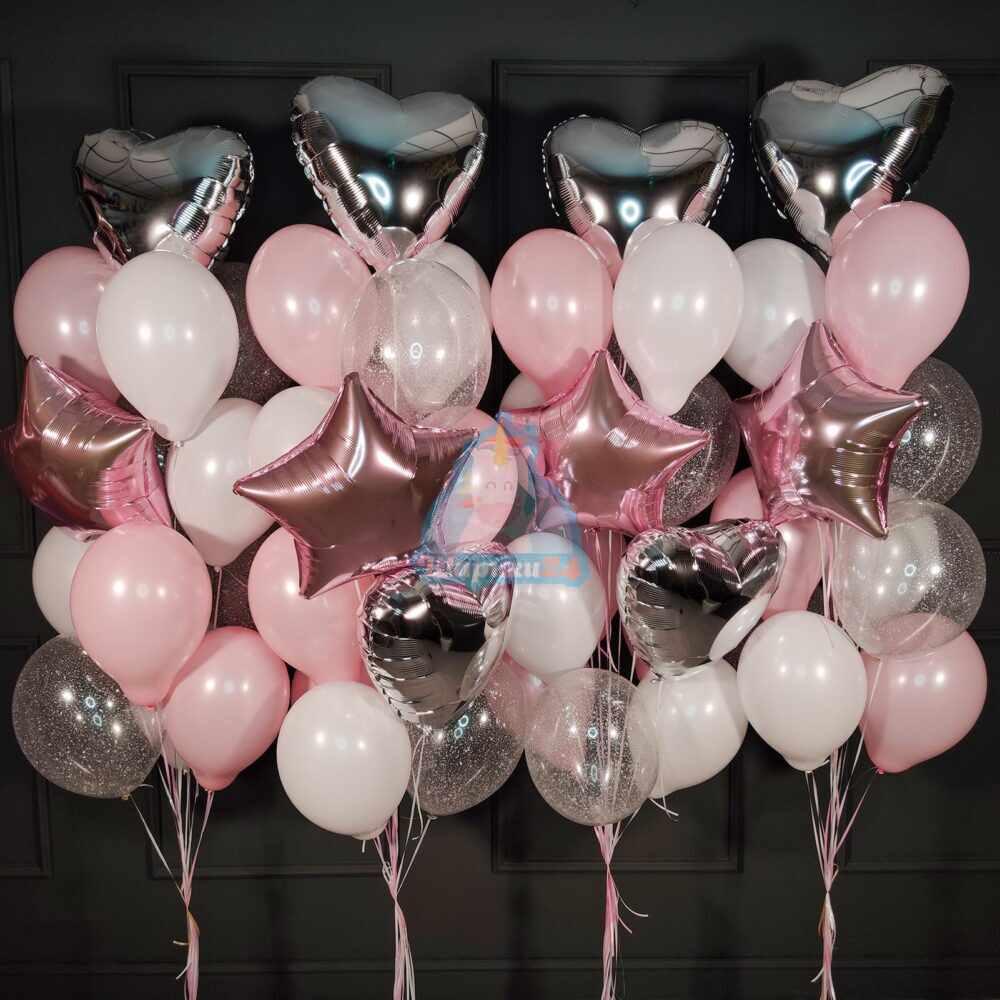 Большая композиция из шаров с серебряными сердцами и розовыми звездами