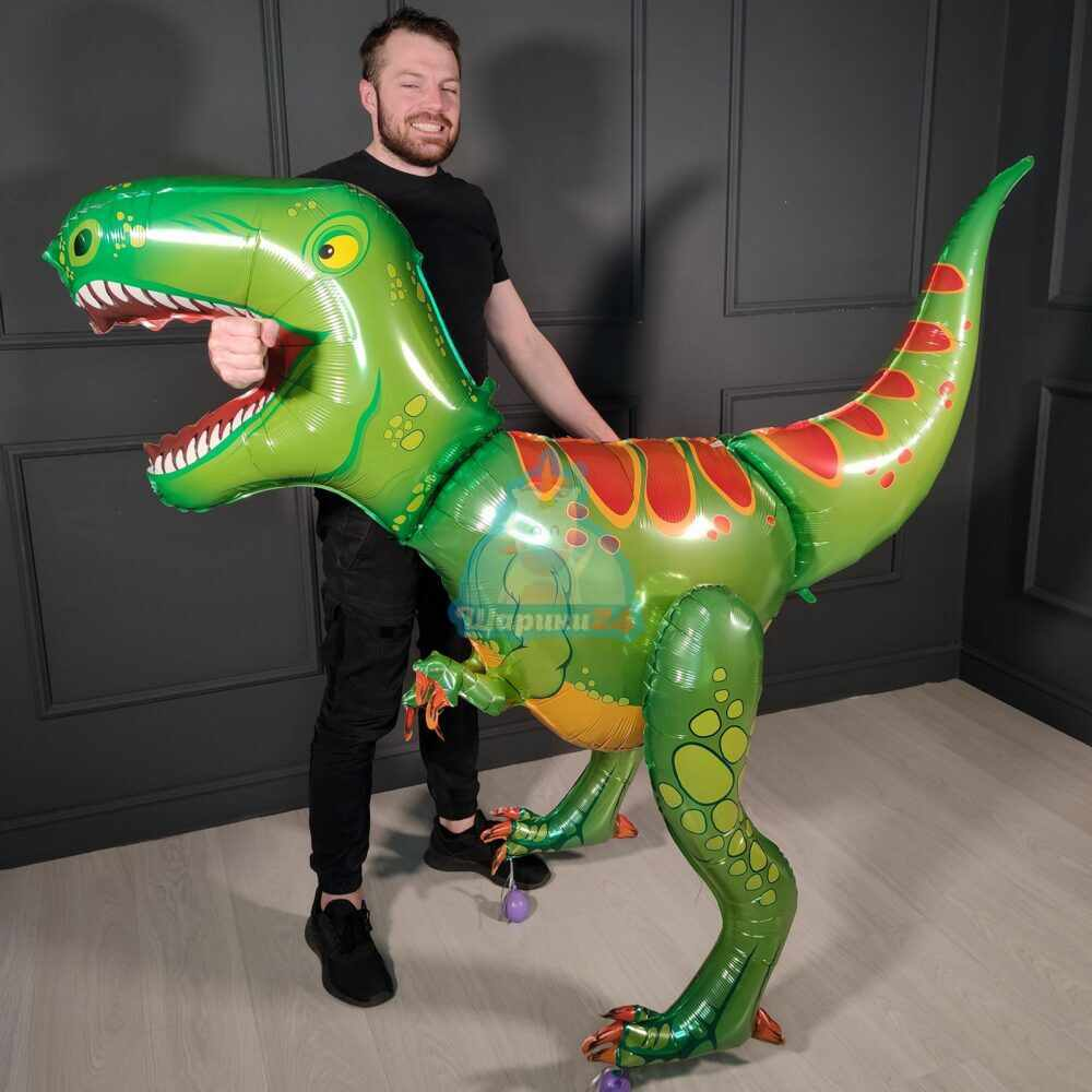 Ходячая фольгированная фигура Динозавр зеленый