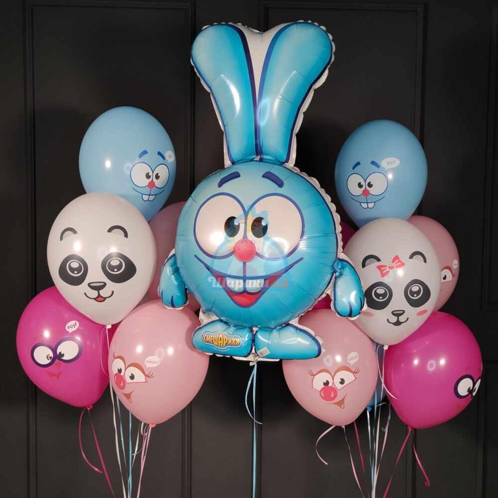 Композиция из воздушных шаров смешарики с Крошем
