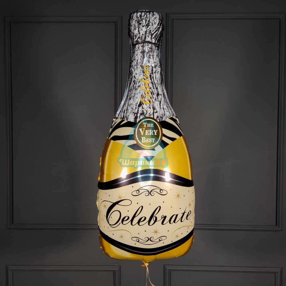 Фольгированная фигура бутылка шампанского золотая