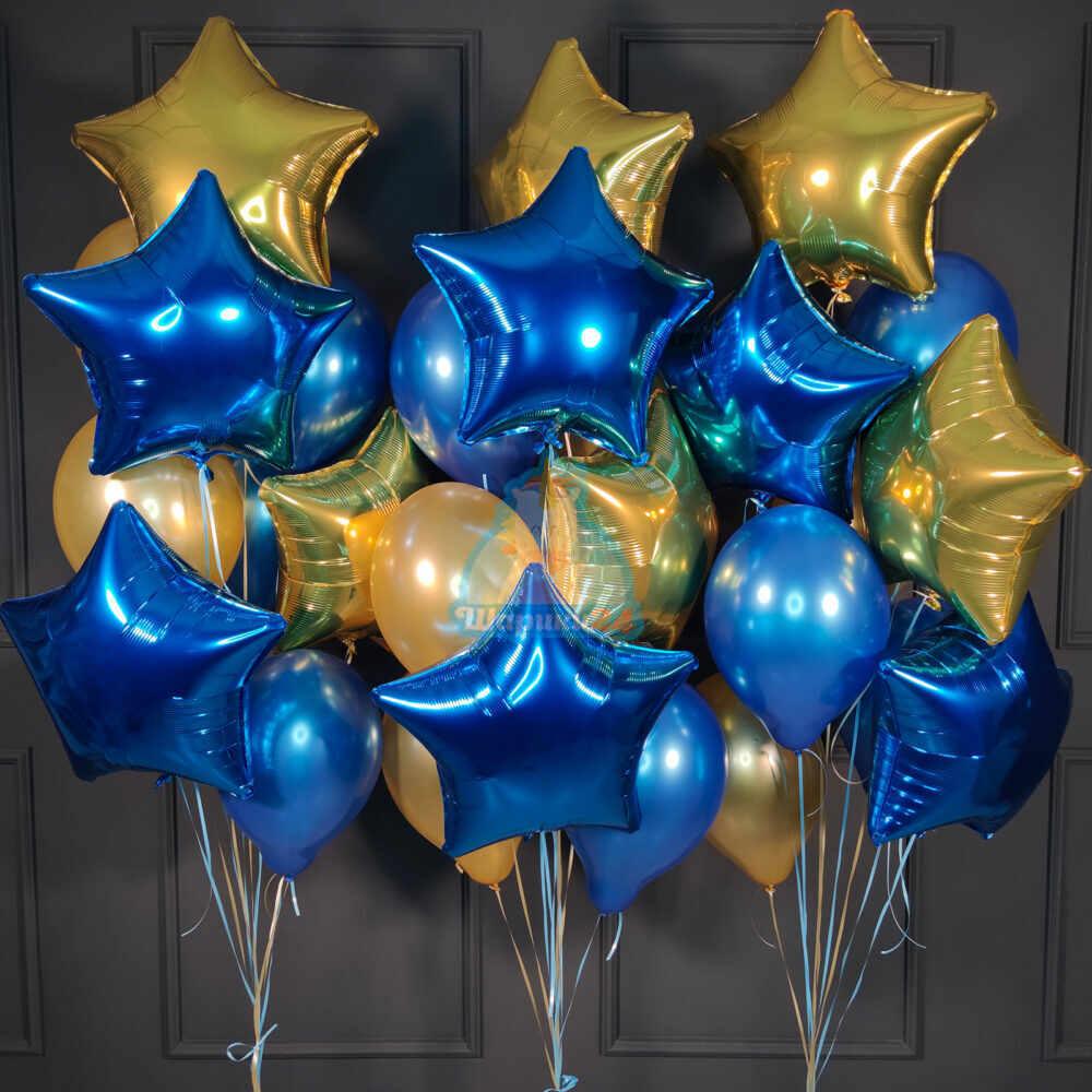 Большая композиция из золотых и синих звезд и шаров