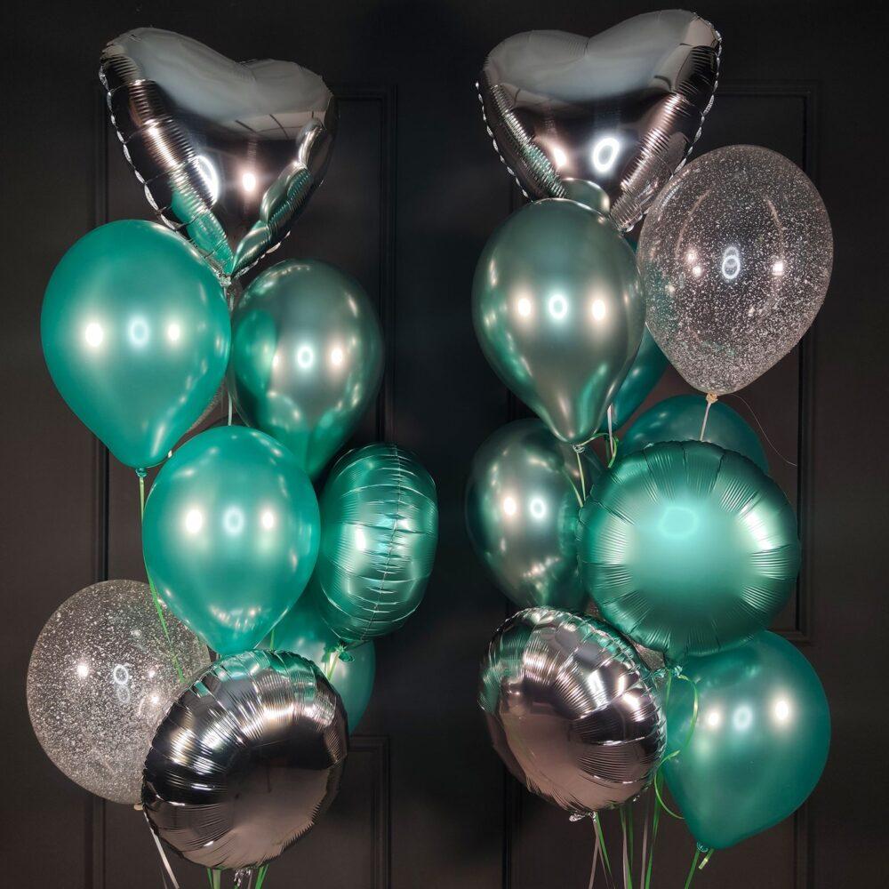 Композиция из серебряных сердец, мятных шаров и кругов