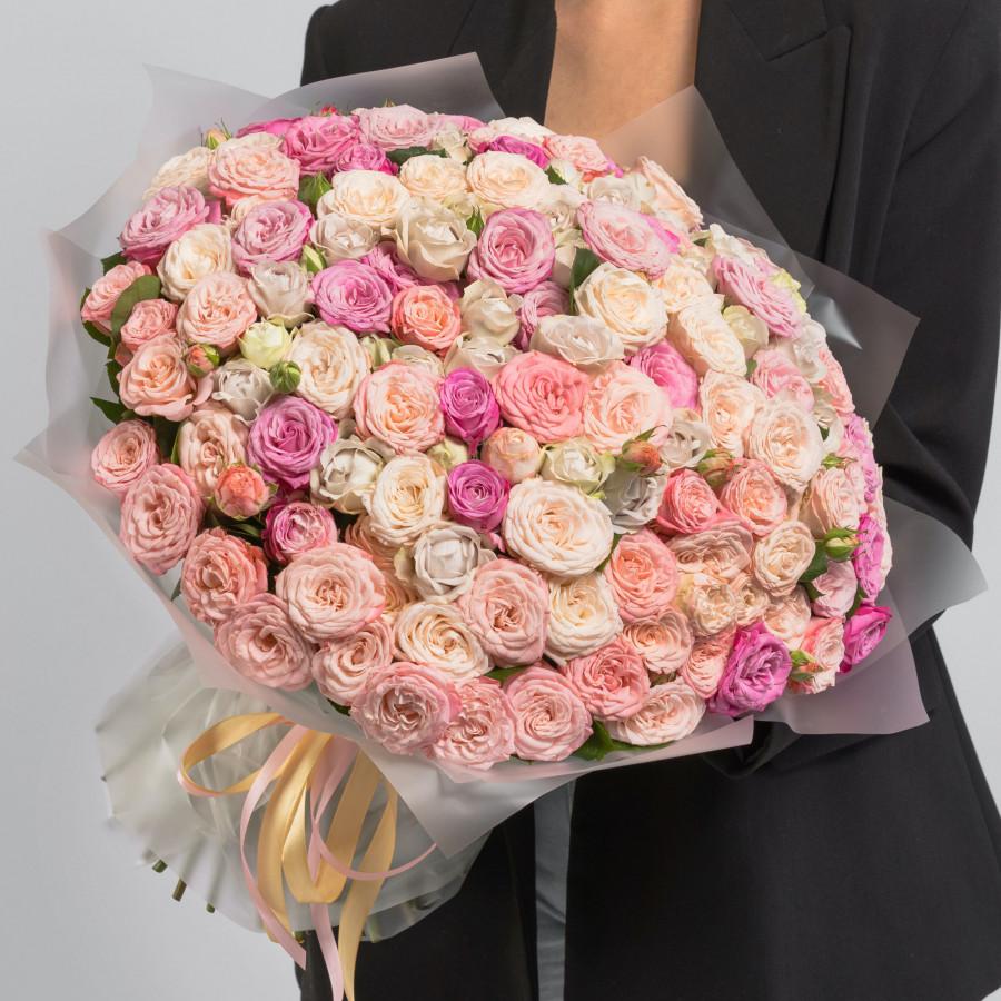 Разноцветные розы кустовые пионовидные 101 шт