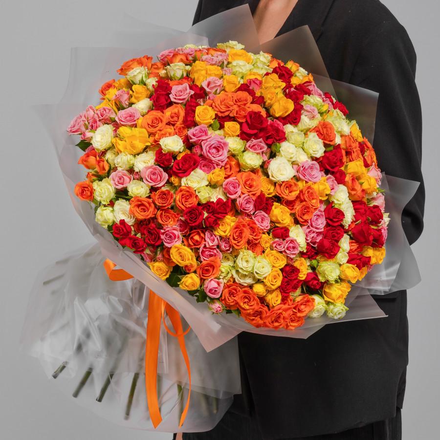 Разноцветные розы кустовые 101 шт