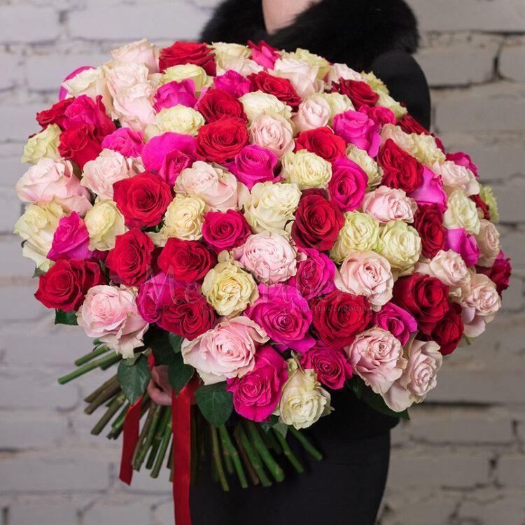 Разноцветные розы микс 101 шт